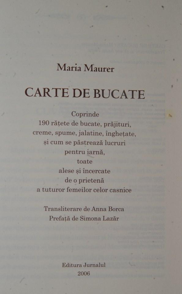 Cartea de bucate a Mariei Maurer